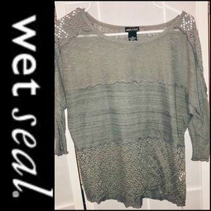 Wet Seal gray 3 textures shirt with 3/4 sleeve